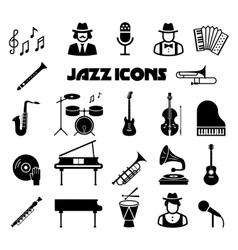 Jazz icon set vector image