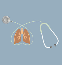 lungs and stethoscope in shape of heart lungs vector image vector image