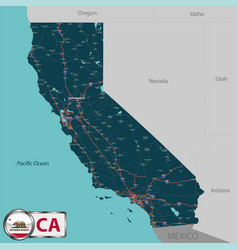 Map of state california usa vector