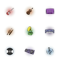 Musical instruments icons set pop-art style vector