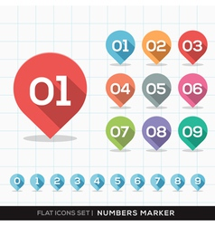 Numbers Pin Marker Flat Icons Set for GPS or Map vector image