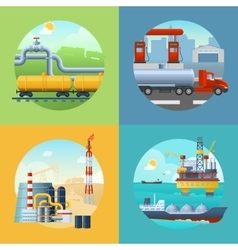 Oil industry banners composition vector