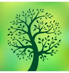 Organic green tree eco emblem vector