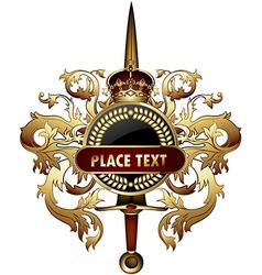 Ornamental shield with sword vector