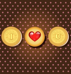 piece of cookie with words I love you vector image vector image