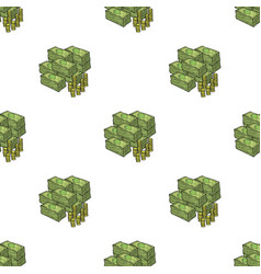Piles of cash and coins icon in cartoon style vector