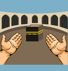 Praying hands on kaaba vector