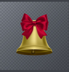 realistic bell with red bow on transparent vector image