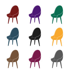 Red oval chair icon in black style isolated on vector