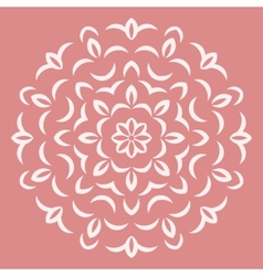 Round white flower pattern on pink backround vector