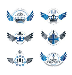 Royal crowns and ancient stars emblems set vector