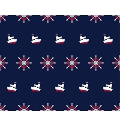 Sea and nautical seamless pattern with ship and vector image