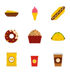 Snacks icon set flat style vector
