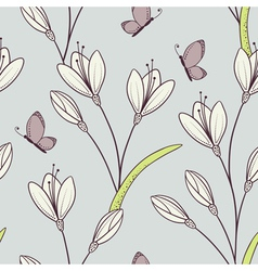 Stylized seamless pattern with flowers vector