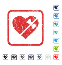 Tied love heart icon rubber watermark vector