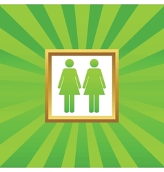 Two women picture icon vector image