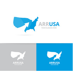 usa and arrow up logo combination vector image vector image
