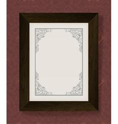 vintage frame with wooden frame vector image