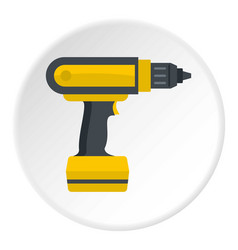 Yellow electric screwdriver drill icon circle vector