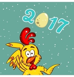 Yellow Funny Chicken Greeting Card vector image