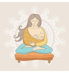 Young woman in cartoon style doing yoga while vector image