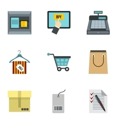 Shopping icons set flat style vector