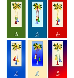 Set of six congratulation card to christmas vector