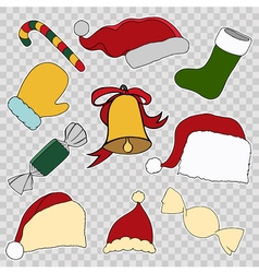 Colorful patch badges of different merry christmas vector