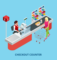 Isometric checkout counter woman paying with a vector