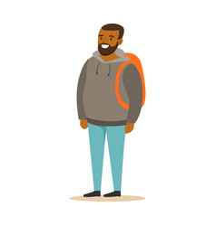 Smiling bearded young black man in a grey hoodie vector