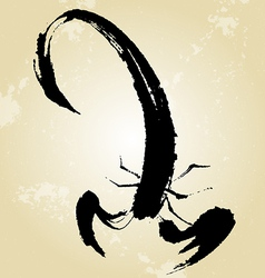 Scorpion Style Chinese Paintings Brush vector image