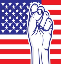Fist american flag resize vector