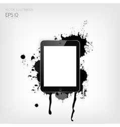 Realistic detalized flat tablet with abstract vector