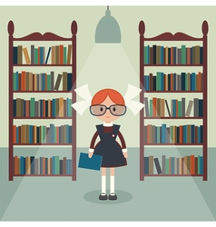 Soviet schoolgirll in library vector