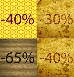 30 65 40 icon set of percent discount on abstract vector
