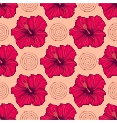 seamless pattern with hand drawn hibiscus flowers vector image