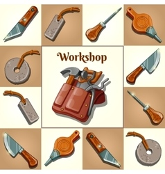 Set of tools piercing and cutting instruments vector