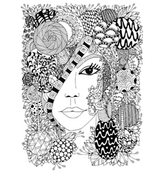 Zen Tangle portrait of a woman vector image