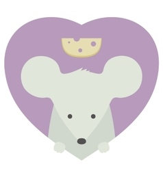 Animal set portrait of a mouse in love flat vector
