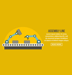 Assembly robot line banner horizontal concept vector