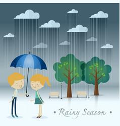 Boy gift umbrella girl rainy season in park vector
