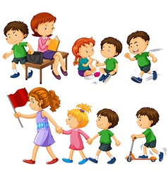 Boy in green shirt doing different activities vector