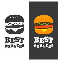 Burger emblem vector image vector image