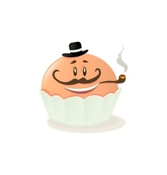 Character cupcake on a white background vector image vector image
