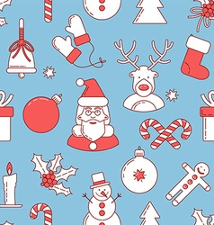 Christmas line design seamless pattern vector image vector image