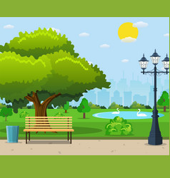 City park bench under a big green tree vector