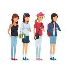 Colorful set group of girl students standing vector
