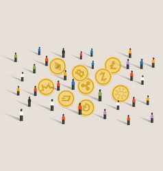 Crowd people hype together crypto-currency coin vector