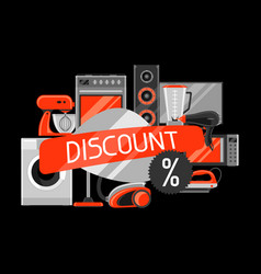 Discount background with home appliances vector