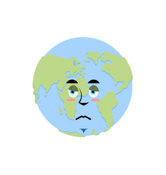 Earth sad emoji planet unhappy emotion isolated vector